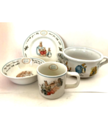 Childs Wedgewood Peter Rabbit China 3 Pieces + Beatrix Potter Handled Bo... - $45.54