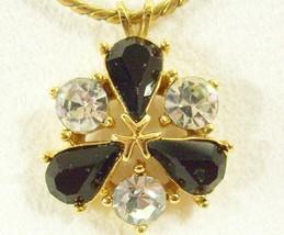 Vintage Trifari Rhinestone Pendant Necklace Clear Jet Black Gold Plate C... - $19.75