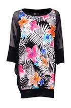 Coco Reef Women's Mesh Sleeve Floral Printed Coverup L/XL, Cast Black - $19.79
