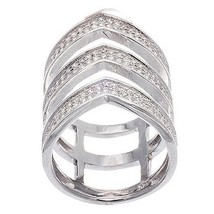 Pave Cubic Zirconia CZ Open V Style Sterling Silver Knuckle Ring-Band - $89.00