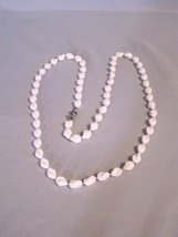 """White Sarah Coventry Beaded Necklace approx 37.5"""" long clip to clasp - $3.38"""