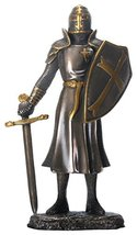 "6.25"" Cold Cast Bronze Color Knight of the Cross Figurine with Sword - $24.73"