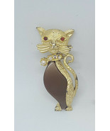 Vintage Rhinestone Collar Brown Stone Elegant Cat Kitty Animal Brooch Pin - $11.99