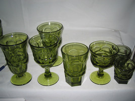 7 pc  Fostoria glass Argus Green  5 different sizes LOOK!!!! - $35.19