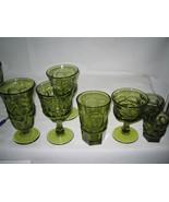 7 pc  Fostoria glass Argus Green  5 different sizes LOOK!!!! - $35.19