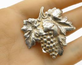 925 Sterling Silver - Vintage Retro Carved Grape Vine Brooch Pin - BP1444 - $36.52