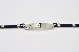Armband 925 Silber Rhodium Mit Platte Mit Fahrrad Graviert Und Seil 18 Cm - $74.81