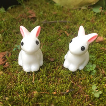 Mini Rabbit Garden Ornament Miniature Figurine Plant Pot Fairy Synthetic... - $28.22