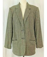 Sag Harbor Blazer Houndstooth Black White Linen Blend Size 14 Vintage - $24.70