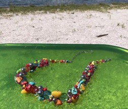 """FUN TURQUOISE RAINBOW COLORS BEADED NECKLACE 16-18"""" SOLID TRANSLUCENT AD... - $19.57"""