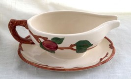 Vintage Franciscan Apple Ceramic Gravy Boat with Under Plate - England - $12.89