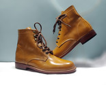 Handmade tan boot  men s formal ankle high boot  men lace up formal leather boot thumb155 crop