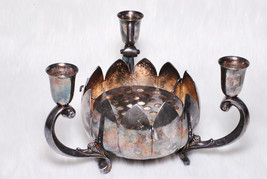 Vintage Collectible Reed & Barton Silverplated Lotus Candle Holder Decor - $39.00