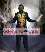 Odeneho Wear Men's Black Polished Cotton Outfit/Gold Embroidery.African ... - $123.75+