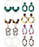 Thunaraz 8 Pairs Mottled Hoop Earrings Acrylic Resin Drop Dangle Earring... - $16.07