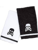 Sourpuss Skull Crossbones Rockabilly Punk Goth Pinup Tattoo Bathroom Towel - $18.99