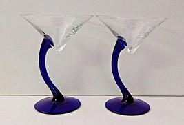 Libbey Fundamentals Bravura Swerve Cobalt Blue Stem Martini Glasses Set ... - $24.74