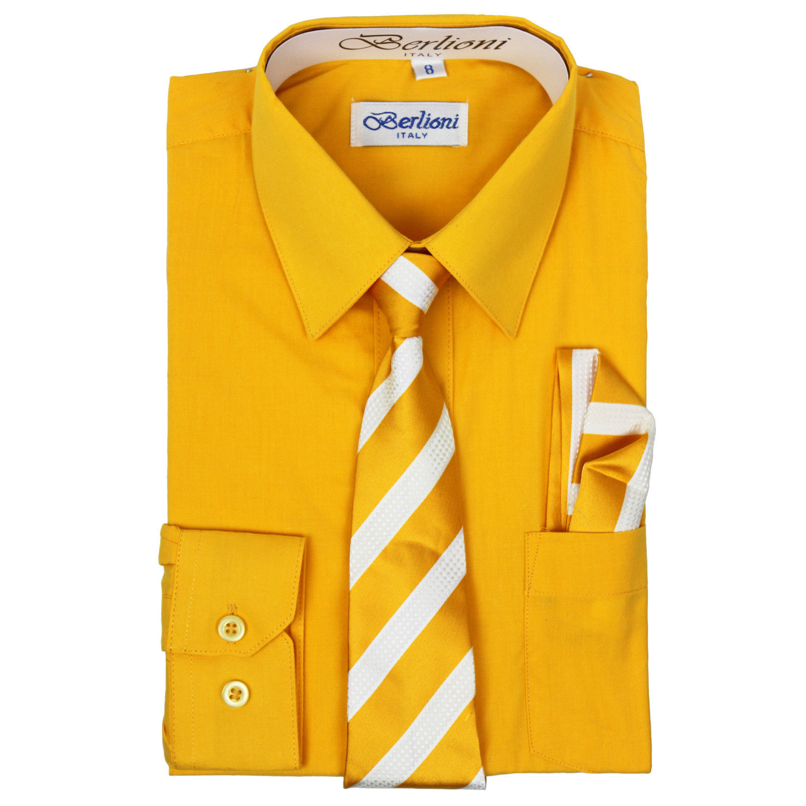 Berlioni Italy Toddlers Kids Boys Long Sleeve Dress Shirt Set With Tie GOLD SZ 8