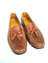 Cole Haan Men's Brown Leather Slip On Dress Pinch Tassel Loafer Sze 12 Air Sole  image 4