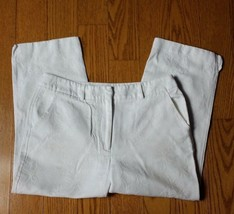 Talbots Petites Cropped Capri Pants White Floral Design Summer Made USA ... - $11.58