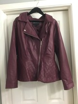 Forever 21+ Plus Faux Leather Peplum Red Moto Jacket 3x - $32.71