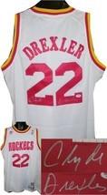 Clyde Drexler signed Houston Rockets White Adidas Swingman Jersey- PSA H... - $164.95