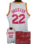 Clyde Drexler signed Houston Rockets White Adidas Swingman Jersey- PSA H... - $164.95