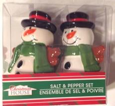 Christmas House Snowman Salt & Pepper Shakers Porcelain New in Box - £6.54 GBP