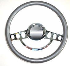 "Muscle Car Chrome & Carbon Fiber Steering Wheel 14"" for 1969 - 94 GM - $134.99"