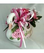 Lovely Handmade Pink Rose Floral Arrangement Centerpiece w/ Painted Cera... - $29.30
