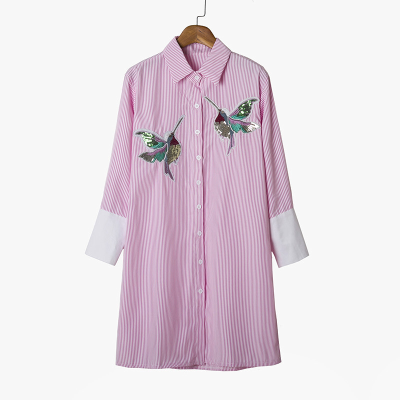 New arrival 2018 Women Bird Embroidered Blouse Shirts fashion Long sleeve high q image 6