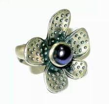 Estate Sterling Silver Pearl Large Flower Petal Ring Size 6 1/2 11 Grams - $60.00