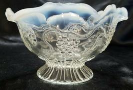 ANTIQUE JEFFERSON GLASS WHITE OPALESCENT RUFFLED EDGE BOWL - $15.00