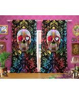Sugar Skull Curtains, Dia de los Muertos Window Drapes, Sheer and Blackout, Sing - $164.00 - $182.00