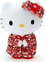 Sanrio Kawaii Japan Hello Kitty Standing Plush Toy MSize Black Red Height 25cm - $92.92