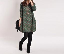 Retro Sheep Printed Spring Women Big Size Long Sleeve Casual A-line Dress - $19.50