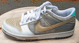 NIKE Low Dunk Shoes. White & Tan Leather w/Taupe Plaid. Size 6.5 M - $6.93