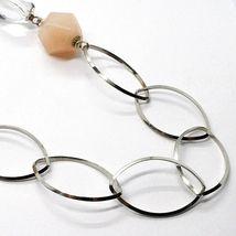 Halskette Silber 925, Jade Brown, Länge 105 cm, Kette Oval und Rolo image 4