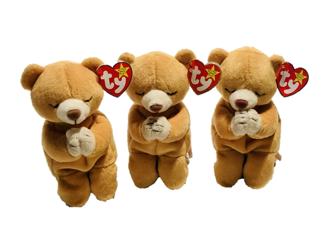 Ty Beanie Babies Praying Teddy Bears Plush Hope Brown Soft Stuffed Toys Set of 3 - $3,465.00