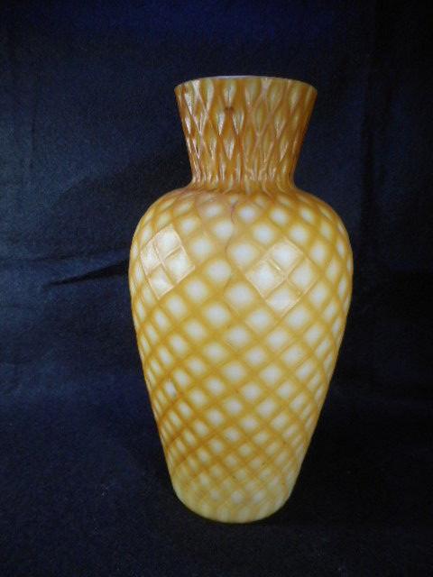 Victorian Gold Cut Velvet Case Glass Art Glass Vase