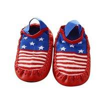Baby Toddler Non-Slip Indoor Slipper Floor Socks Winter Warm Socks, 1 Pair (Red
