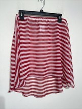 Michael Kors Size Small Womens Red White Striped Mini Skirt - $18.69