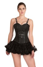 Black Brocade Leather Straps  Gothic Burlesque tutu Skirt Overbust Corset Dress - $69.57