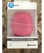 ONN Mini Bluetooth Speaker Pink Burst Built-In Speakerphone Hanging Stra... - $9.89