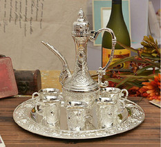 Islamic Turkish Moroccan Coffee Tea Pot Dallah Set  Arabic Bedouin White - $79.30