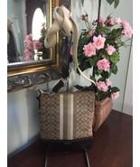 Coach Signature Crossbody Bag Legacy Stripe Swingpack 48001 Khaki Mahoga... - $58.04