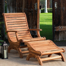 Teak Oiled Plantation Adirondack Outdoor Patio Deck Chair & Ottoman - New! - £326.17 GBP
