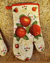 """Oven Mitts, Set of 2, Red Apple Blossom design, Large 13"""", Cotton Kitchen Linens image 2"""