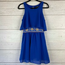Sequin Hearts Royal Blue Tunic Dress Size M Embroidery Waist Sleeveless ... - $13.58