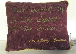 Christmas Throw Pillow Burgundy Tapestry Spirit of Season Sofa - $6.93